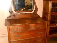 ANTIQUE OAK 2-OVER-2 DRESSER w/ SWING MIRROR, Michigan