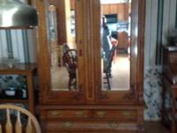 Lovely decorative oak antique armoire. Two doors with