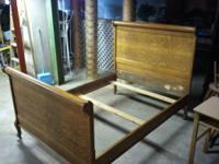 Antique Oak Bed frame solid wood. In good condition,