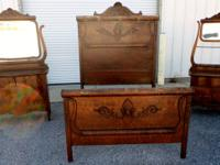 Large, old oak bedroom set with large full size bed,