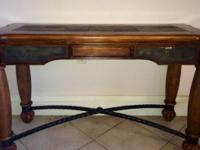 Beautifully made oak and iron antique buffet table.