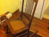 Antique chair and matching rocker. Light oak. Cane seat