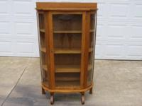 Beautiful Antique Oak China Cabinet, curved sides, very