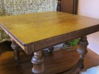 Enjoy holiday dining on this lovely golden oak antique