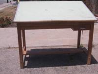 AGED SOLID OAK DRAFTING TABLE IN GOOD CONDITION. A REAL