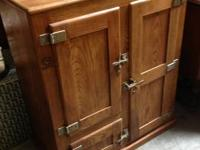Antique Oak Ice Box. Good disorder. 33 inches large,