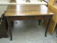 Oak Library Table with dark finish, 1 drawer and