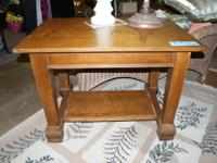 ANTIQUE OAK LIBRARY TABLE WITH SHELF.  THIS IS A GREAT