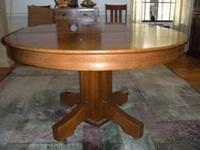 "Solid Oak Mission-style Table. Round 48"". Center Square"