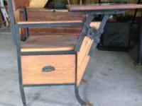 Early 1900s oak/metal adjustable school desk with pull