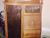 Vintage item from the 1800's Materials: oak,glass