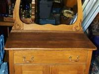 ANTIQUE OAK VICTORIAN WASHSTAND WITH TOWEL BAR overall