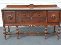 ANTIQUE SOLID OAK WOOD SERVER SIDEBOARD BUFFET Made By: