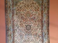 "Antique Persian Silk Qum rug (6'2""L x 4'W). Purchased"