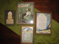 Set of four antique pics. One with broken frame. $12.00