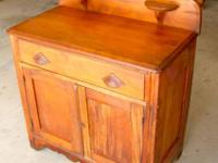 "Antique Pine Washstand w/ Backsplash 30"" x 15 1/2"" x 28"