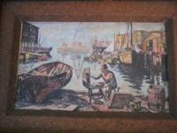 Two antique prints done on some type of canvas cloth,