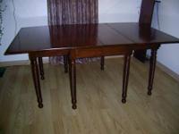Vintage one of a kind SOLID OAK DROP LEAF table set for