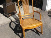 Antique Rocking Chair, Birds Eye Maple, with Cane Seat.