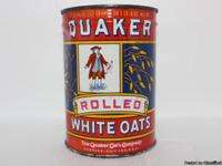 Antique Tin Quaker Oats Company. Rolled White Oats With