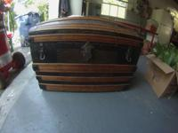 Round topped woman's steamer trunk. Round top was made