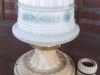 Antique satin glass ceiling shade with fixture in great