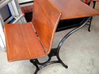 Very good antique school desk with front bench that