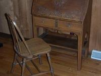 Solid oak antique secretary desk. Unusual features