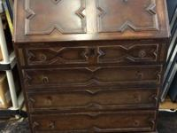 Locking Drop Front Secretary Desk, With Key. Has some
