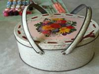 FOR SALE;  ANTIQUE TWO HANDLE, DECORATIVE SEWING TIN,