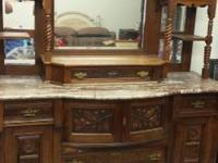 antique marble top sideboard . marble is broken but
