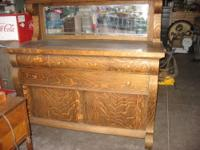 Beautiful Tiger Oak, buffet or sideboard. The beveled
