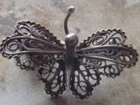 Antique Silver Filigree Vermeil Butterfly Pin  Age: