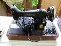 antique singer portable sewing machine with bentwood