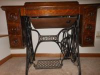 Classic, Antique Singer treadle, six drawer sewing