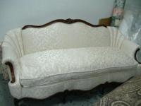 upholstery in cream floral damask,channel back French