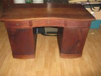 "Antique Solid Mahogany Desk. 51-1/2"" x 27-1/2"" x"