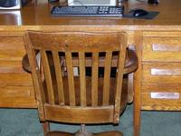 "Solid Oak Antique Desk and Chair Desk Measures 54""Wide"