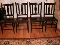 Antique Solid Oak Dining Chairs in Black Finish. Good
