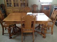 Antique Solid Oak Dining Table and 6 Oak Chairs (One