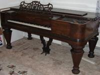 Square marvelous piano manufactured by Hallet and