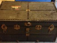 "Historical steamer trunk, 35""w x 18.5""h x 21""d. Pretty"