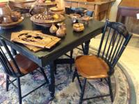 """Antique 42"""" square table and four chairs, on sale for"""