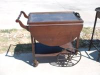antique wood tea cart on wheels with drop leaves, and