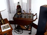 Tea kart - possibly Mahogany, wood wheels/rubber