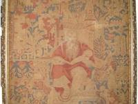 Antique Textile Tapestry of the Greek God Socrates,