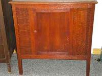 antique tiger oak cabinet nice wood grain call
