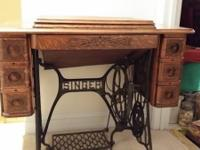 Antique Tiger Oak Singer Sewing machine table  very