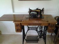 Antique treadle electric sewing machine. Very good