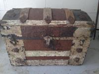 GORGEOUS ANTIQUE TRUNK -- small only approx. 2 feet x